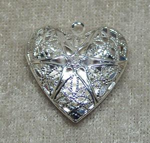 silver medaljong hjärta